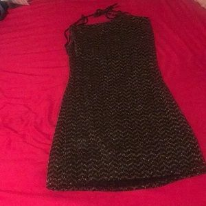 BCBG black gold glitter minidress